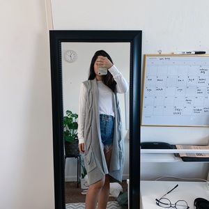 Long gray knit vest